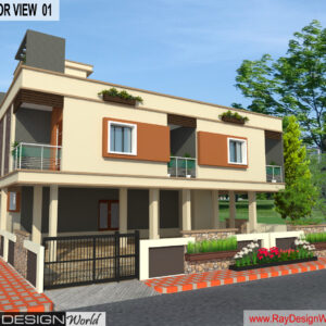 Mr. Narendra Kumar Tripathi - Lucknow UP - Guest House-3D Exterior View-01