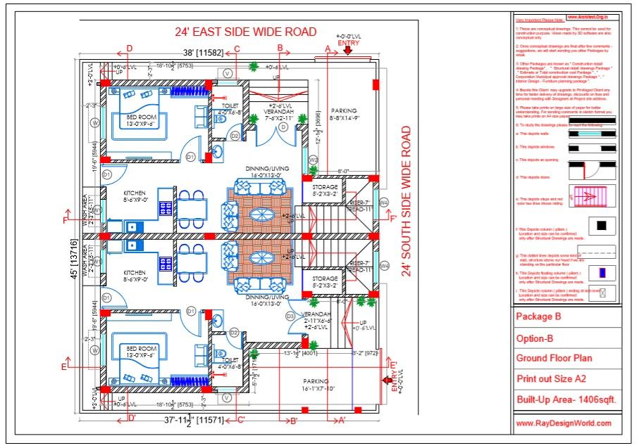 Capten Arul - Chennai Tamil Nadu -Bungalow- Option B - Ground Floor Plan