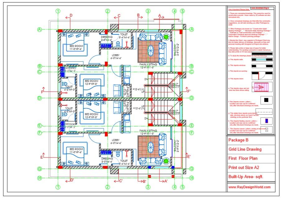 Capten Arul - Chennai Tamil Nadu -Bungalow- Package B -First Floor Plan -Grid Line Drawing