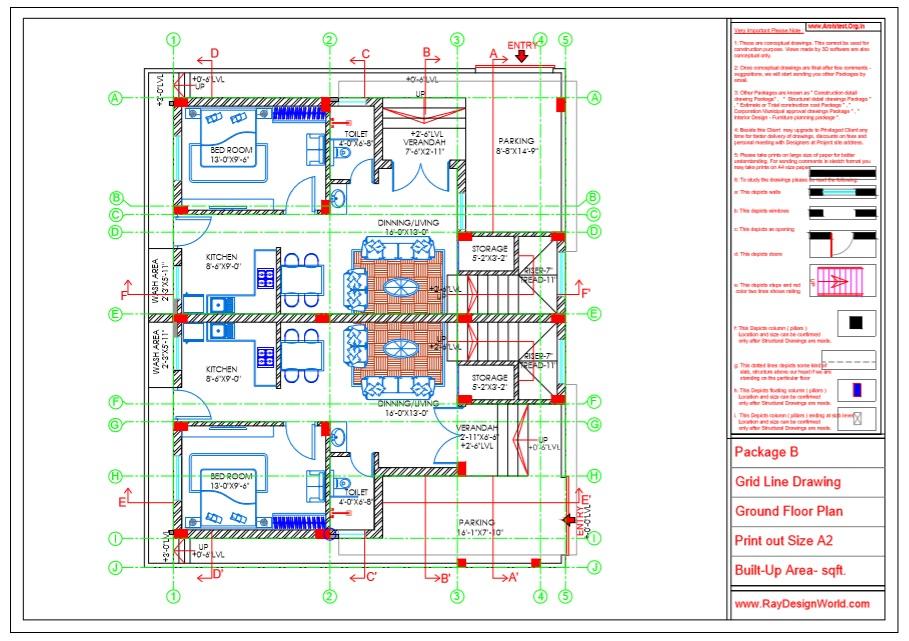 Capten Arul - Chennai Tamil Nadu -Bungalow- Package B -Ground Floor Plan -Grid Line Drawing