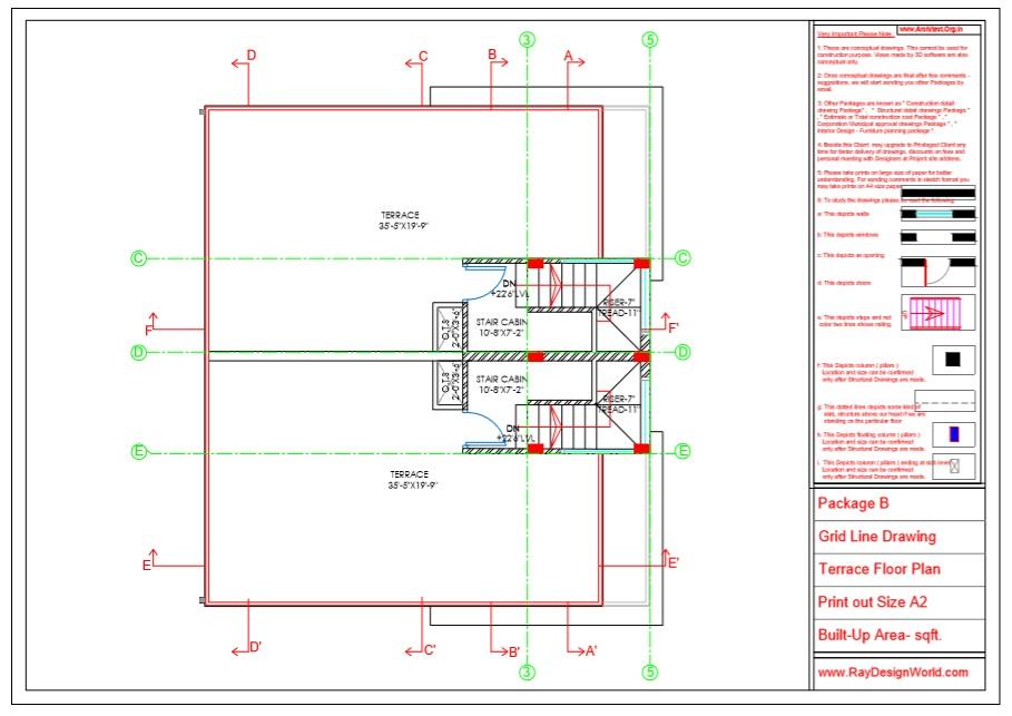 Capten Arul - Chennai Tamil Nadu -Bungalow- Package B -Terrace Floor Plan -Grid Line Drawing