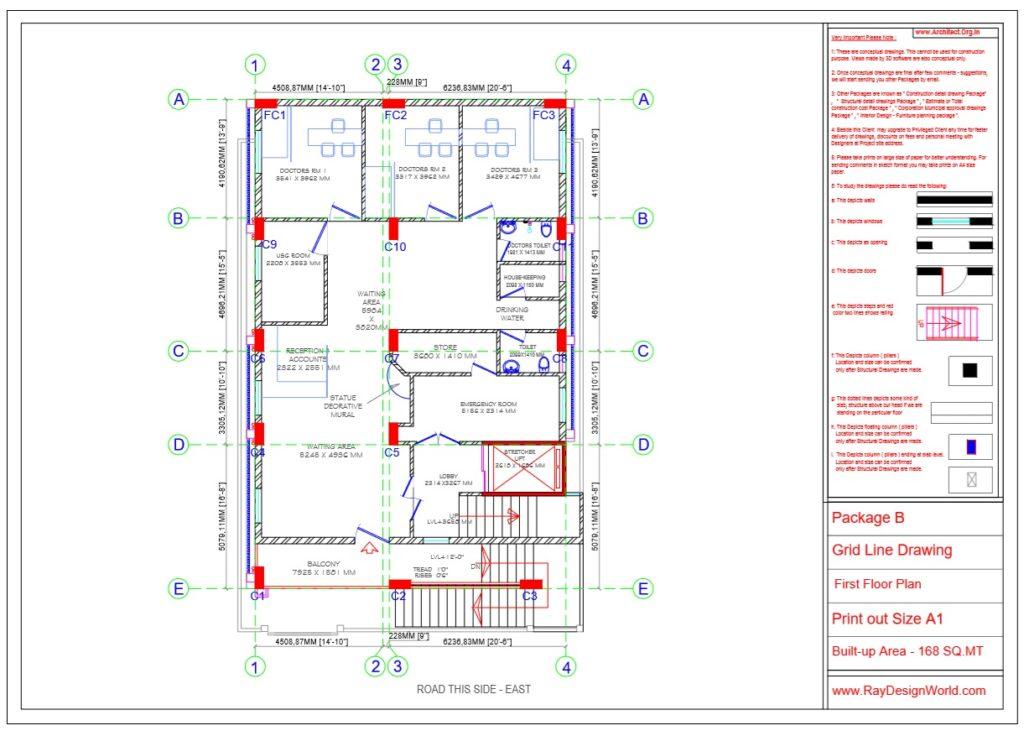 Dr.Rajeev Pandurangi- Bangalore-Hospital-Package B-First Floor -Grid Line Drawing