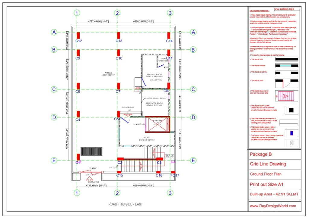 Dr.Rajeev Pandurangi- Bangalore-Hospital-Package B-Ground Floor -Grid Line Drawing