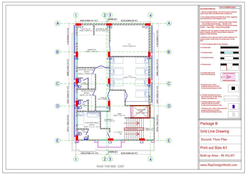 Dr.Rajeev Pandurangi- Bangalore-Hospital-Package B-Second Floor -Grid Line Drawing