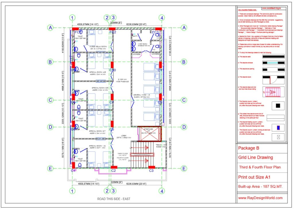 Dr.Rajeev Pandurangi- Bangalore-Hospital-Package B-Third & Fourth Floor -Grid Line Drawing