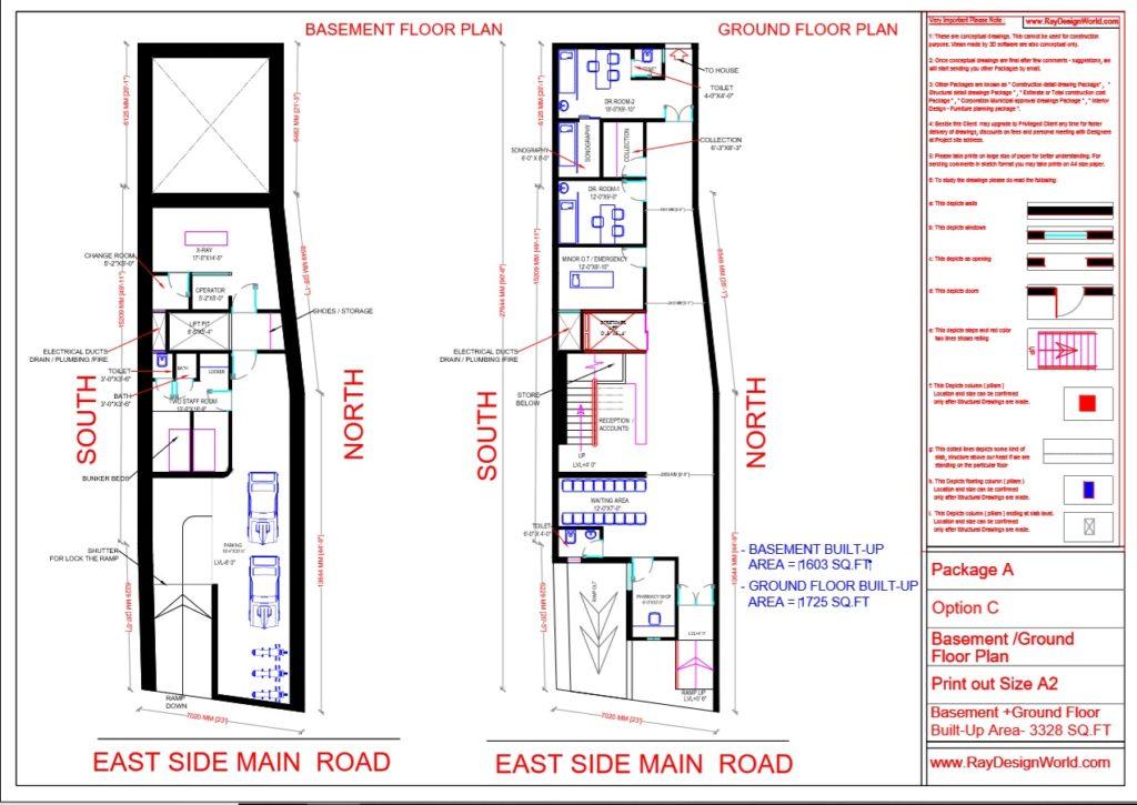 Dr.Talat Fatima - Darbhanga Bihar - Hospital-Basement & Ground Floor Plan