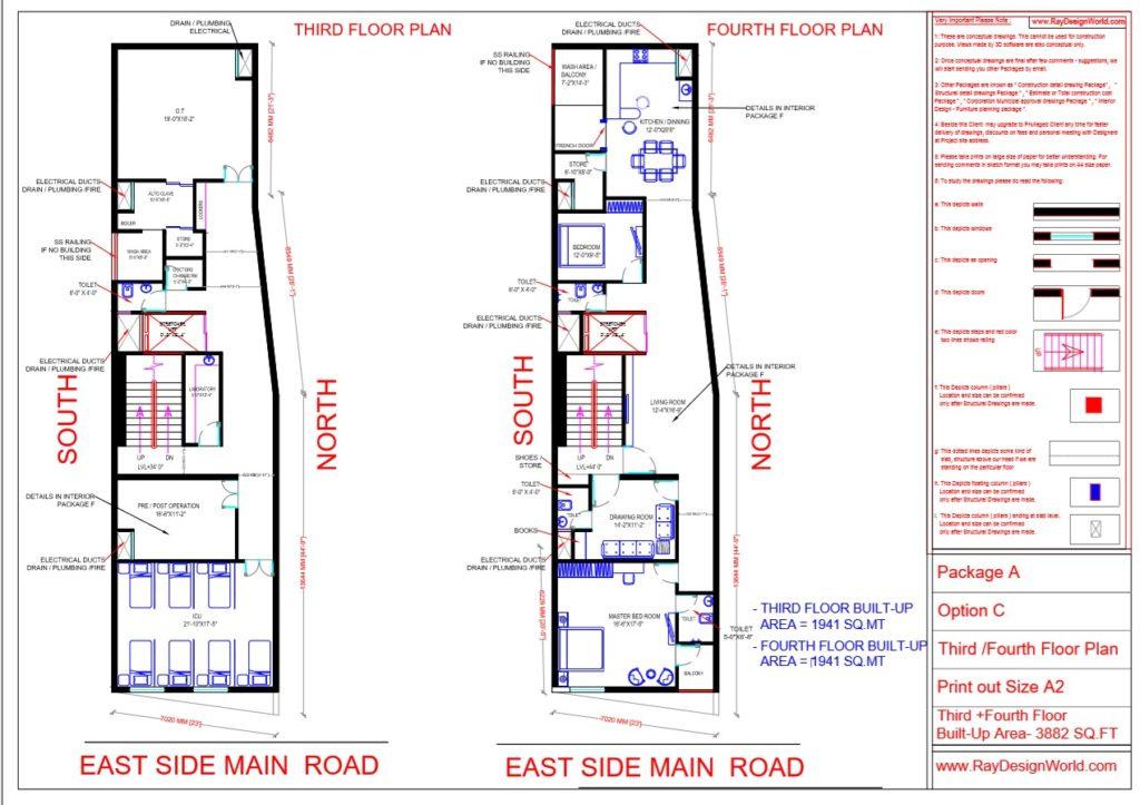 Dr.Talat Fatima - Darbhanga Bihar - Hospital-Third & Fourth Floor Plan