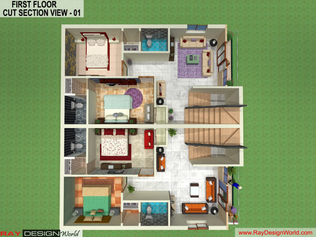 Mr. Arul-vengambakkam chennai-Bungalow-First Floor 3D Cut Section View- 01
