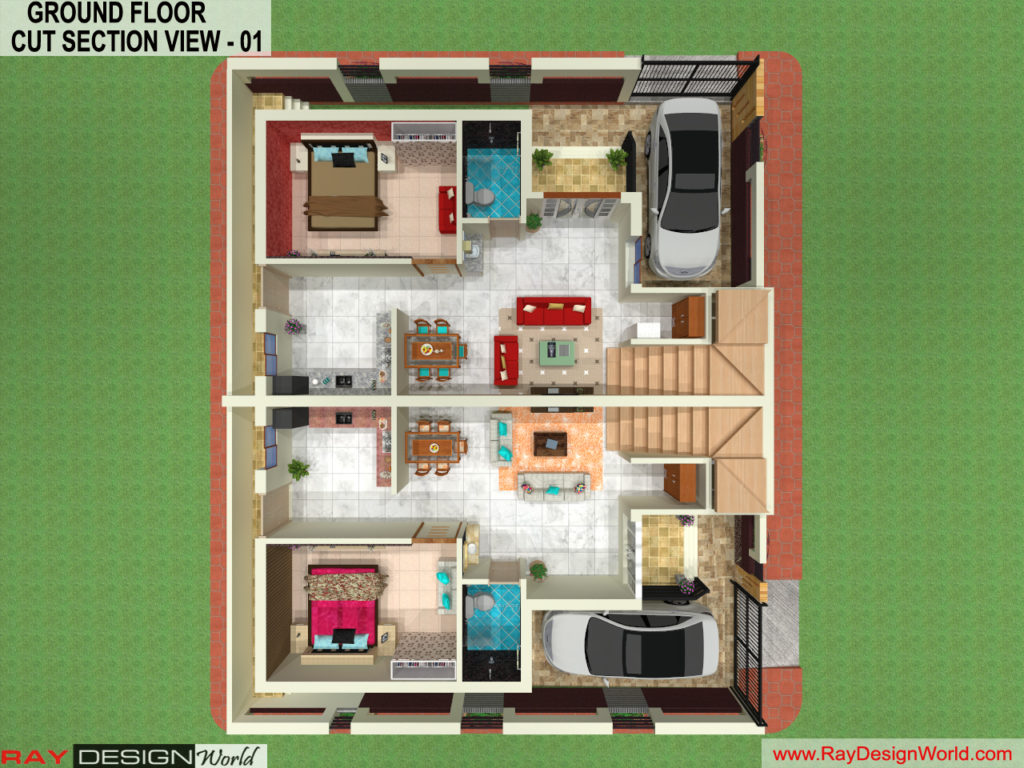 Mr. Arul-vengambakkam chennai-Bungalow-Ground Floor 3D Cut Section View- 01