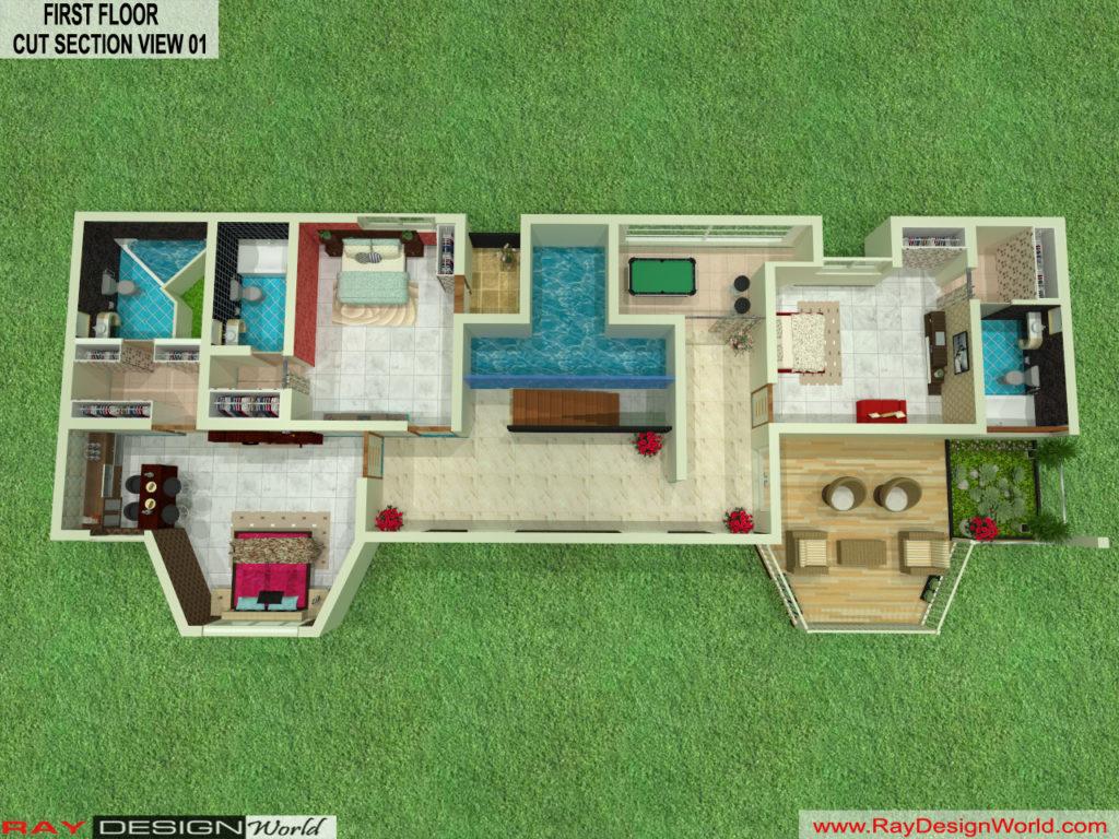 Mr. Austin Dias-Manglore-Bungalow -Option-B-First Floor-3d Cut section View-01