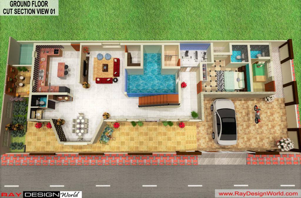 Mr. Austin Dias-Manglore-Bungalow -Option-B-Ground Floor-3d Cut section View-01