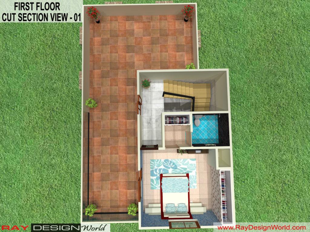 Mr. Kiran vijaypur karnataka -Bungalow-First Floor -3d Cut Section View-01