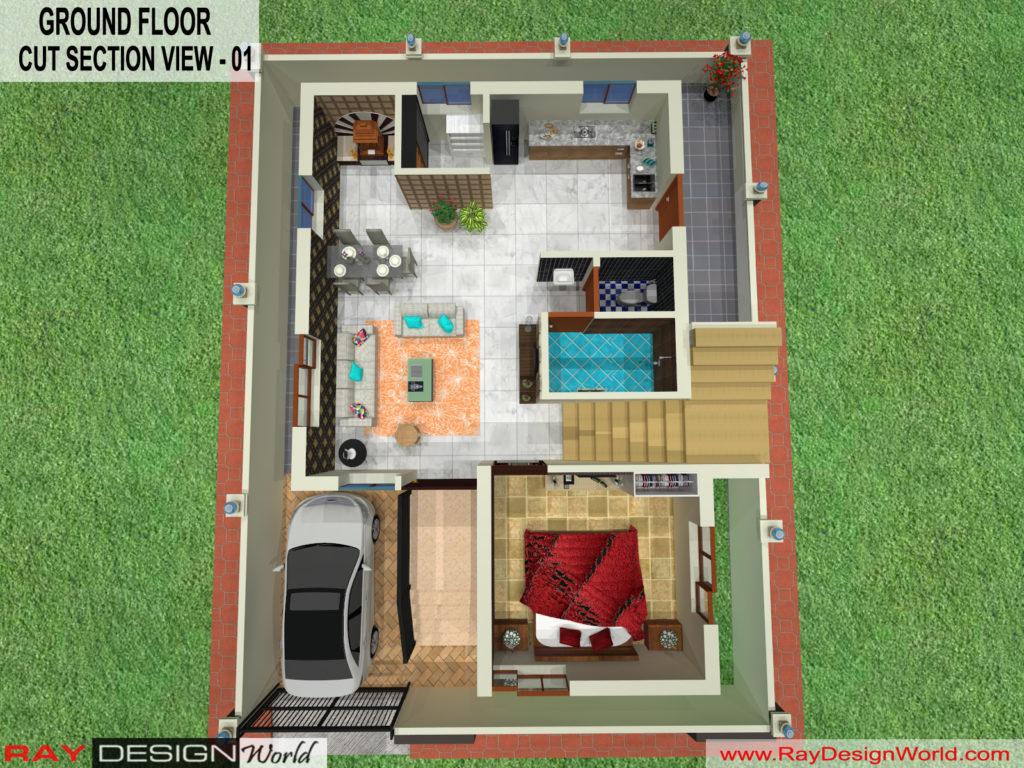 Mr. Kiran vijaypur karnataka -Bungalow-Ground Floor - 3d Cut Section View-01