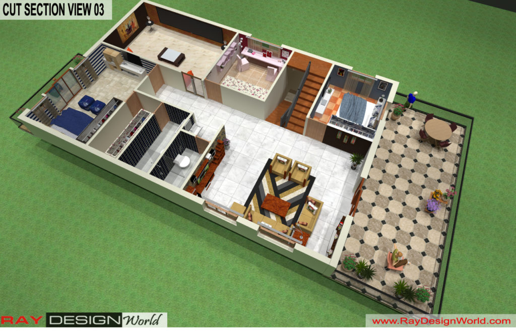 Mr. Lalit Toshkhani-Bangalore Karnataka-Bungalow-Option- A-First Floor Cut Section View 01