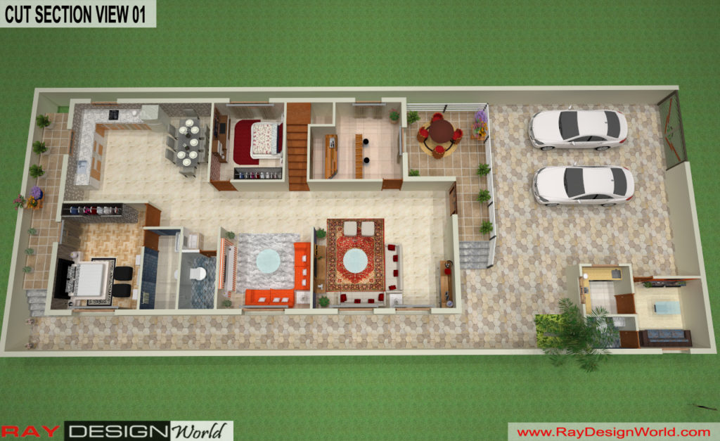 Mr. Lalit Toshkhani-Bangalore Karnataka-Bungalow-Option- A-Ground Floor Cut Section View 01