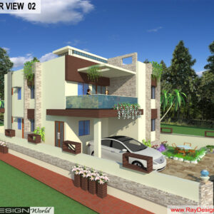 Mr. Nirmal singh - Bilaspur Punjab - Bungalow -3D Exterior View-02