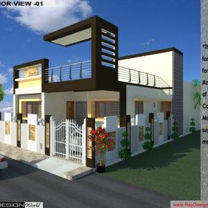 Mr. Santosh Chaturvedi-Varanasi UP-Bunglow-3D Exterior view-01