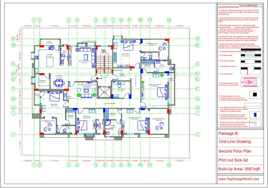 Mr.Arul-Madipakkam chennai-Apartment -Second Floor Plan -Package B Grid Line