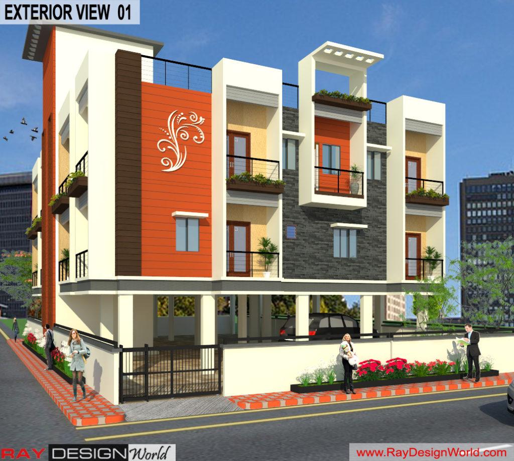 Mr.Narendra Kumar Tripathi-Lucknow Up-Apartment-3d Exterior View-01
