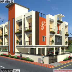 Mr.Narendra Kumar Tripathi-Lucknow Up-Apartment-3d Exterior View-02