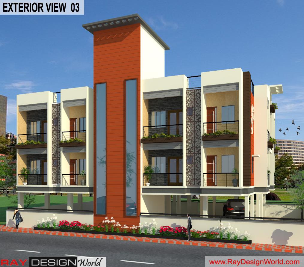 Mr.Narendra Kumar Tripathi-Lucknow Up-Apartment-3d Exterior View-03