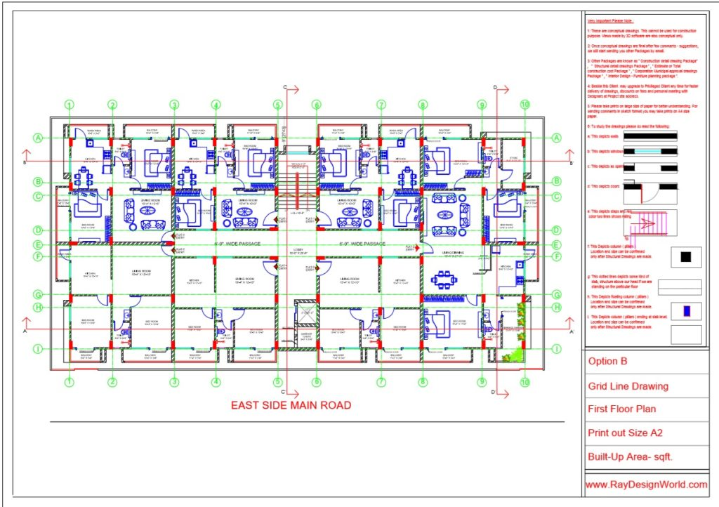 Mr.Rajesh kumar - Nawada Bihar - Apartment- First Floor-Grid Line Plan