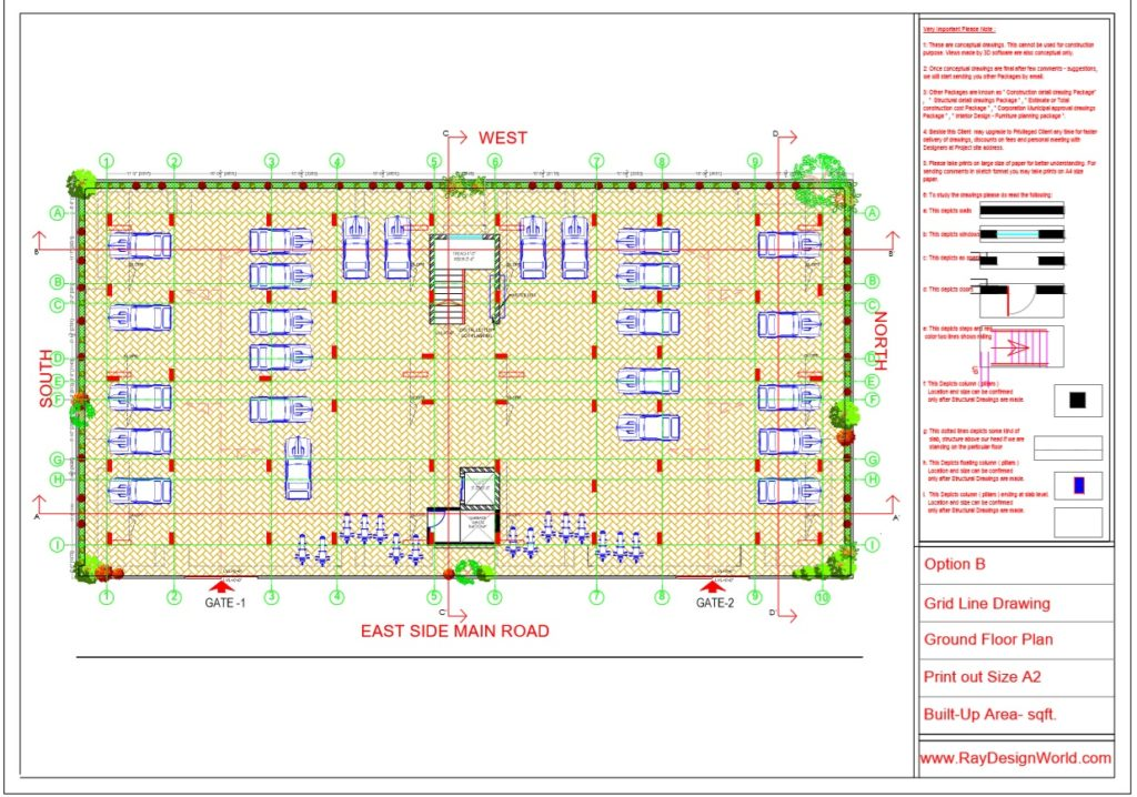 Mr.Rajesh kumar - Nawada Bihar - Apartment- Ground Floor-Grid Line Plan