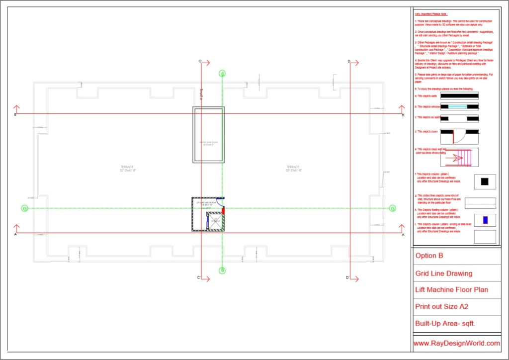 Mr.Rajesh kumar - Nawada Bihar - Apartment- Lift Machine Floor-Grid Line Plan