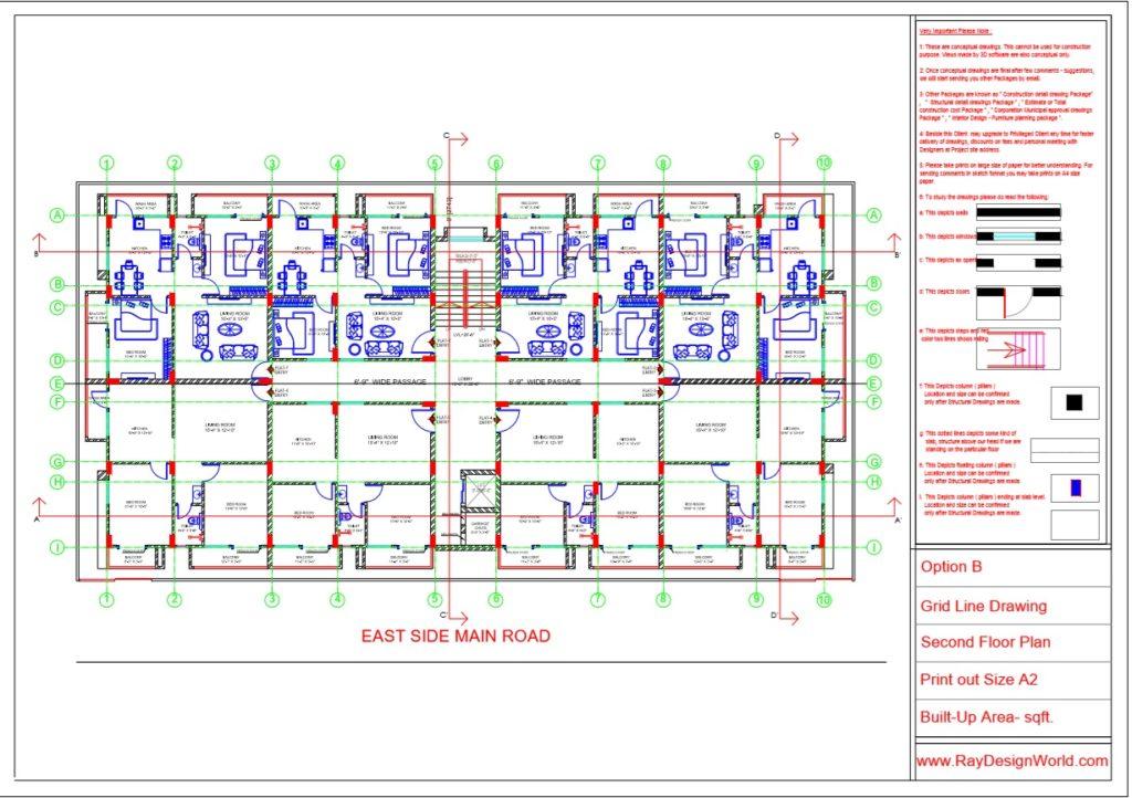 Mr.Rajesh kumar - Nawada Bihar - Apartment- Second Floor-Grid Line Plan