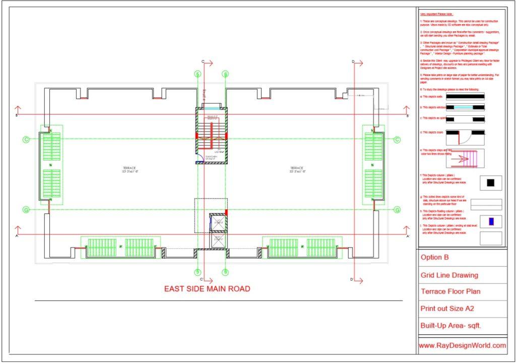 Mr.Rajesh kumar - Nawada Bihar - Apartment- Terrace Floor-Grid Line Plan