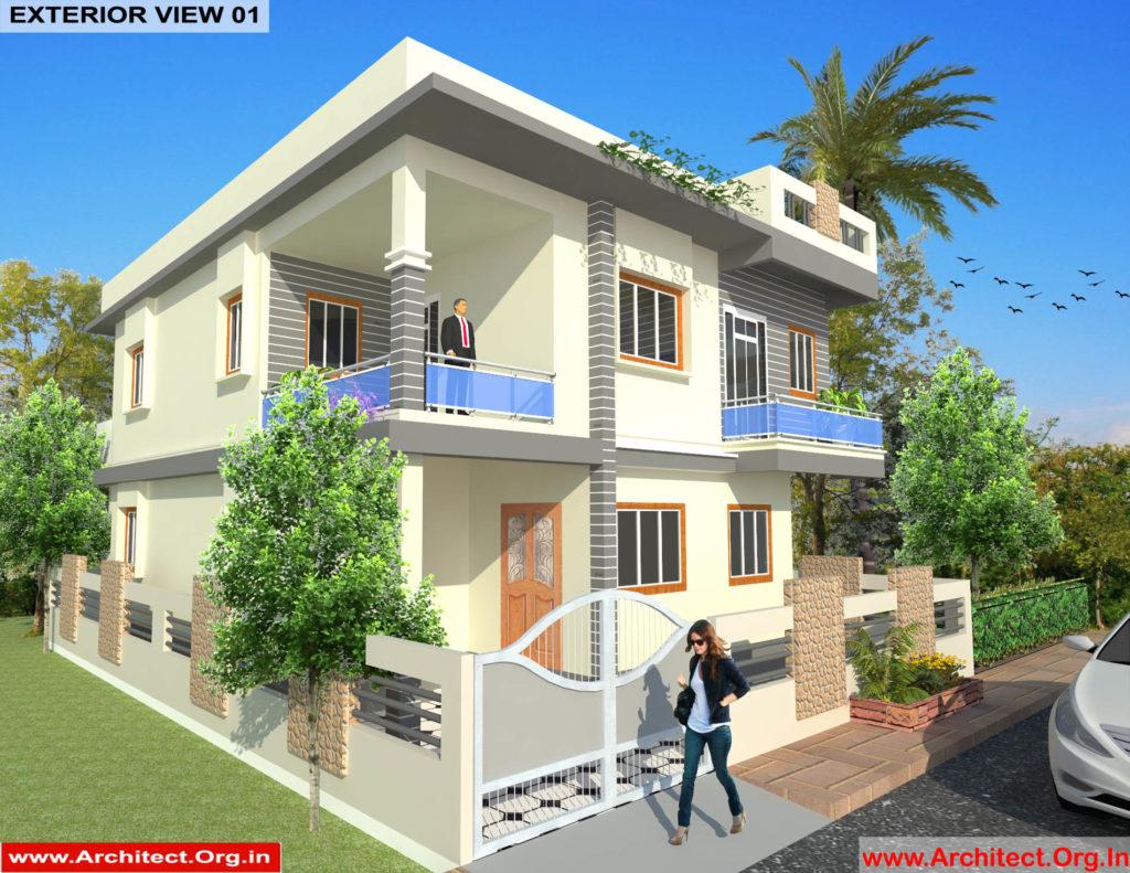 Mr.Sainath-FR-Devid Raynell-Chennai Tamilnadu-Bunglow-3D Exterior view-01