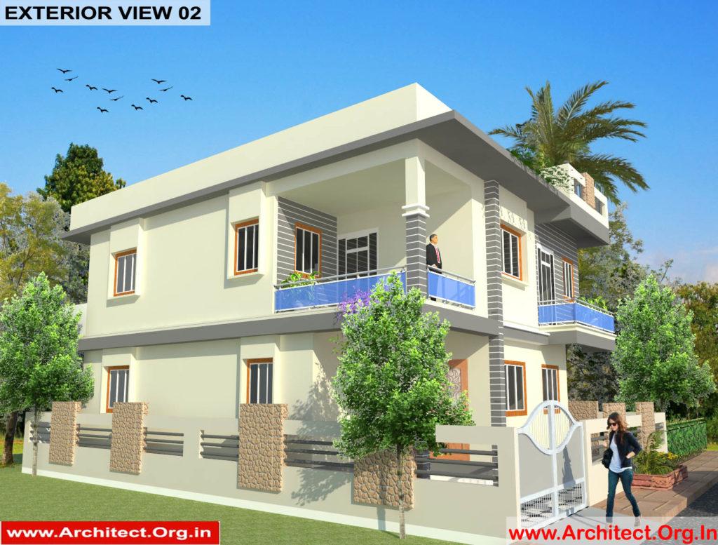 Mr.Sainath-FR-Devid Raynell-Chennai Tamilnadu-Bunglow-3D Exterior view-02
