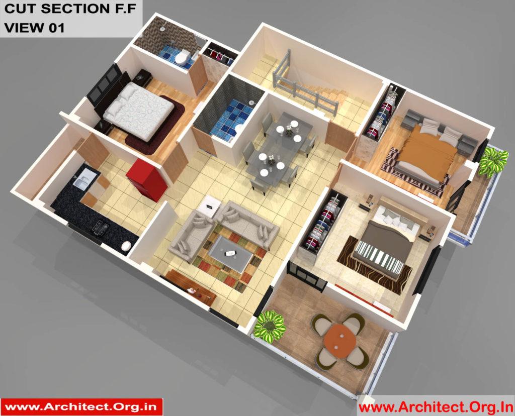Mr.Sainath-FR-Devid Raynell-Chennai Tamilnadu-Bunglow-First Floor-3D Cut Section View-01