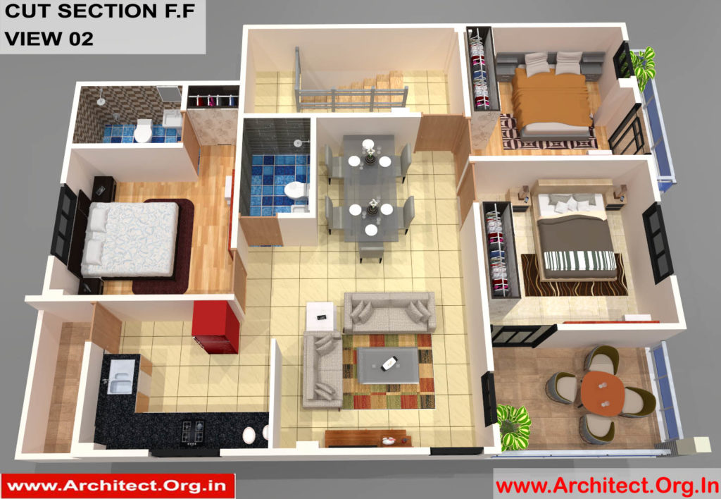 Mr.Sainath-FR-Devid Raynell-Chennai Tamilnadu-Bunglow-First Floor-3D Cut Section View-02