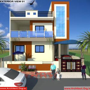 Mr.Vikas Kumar-sonipat Haryana-Bungalow-3D Exterior view-01