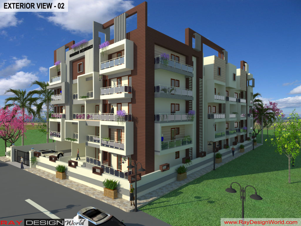 Mr.Bikas Poddar -Bhagalpur Bihar- Apartment -3d Exterior View-02