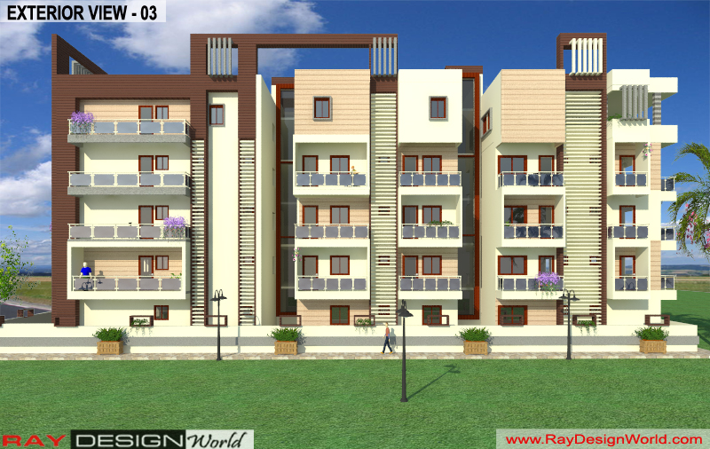 Mr.Bikas Poddar -Bhagalpur Bihar- Apartment -3d Exterior View-03