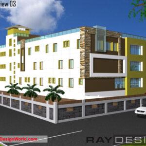 Hospital Exterior Design view 03 - Guwahati Assam - Dr. Altaf Hussain Ahmed