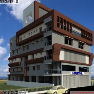 Hospital Exterior Design view 02- Nandyal Andhra Pradesh - Dr.Balaji Obula Reddy