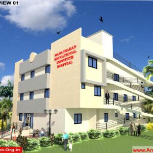 Dr.Krishna-Jhansi Uttar pradesh-Hospital-3D Exterior View-01