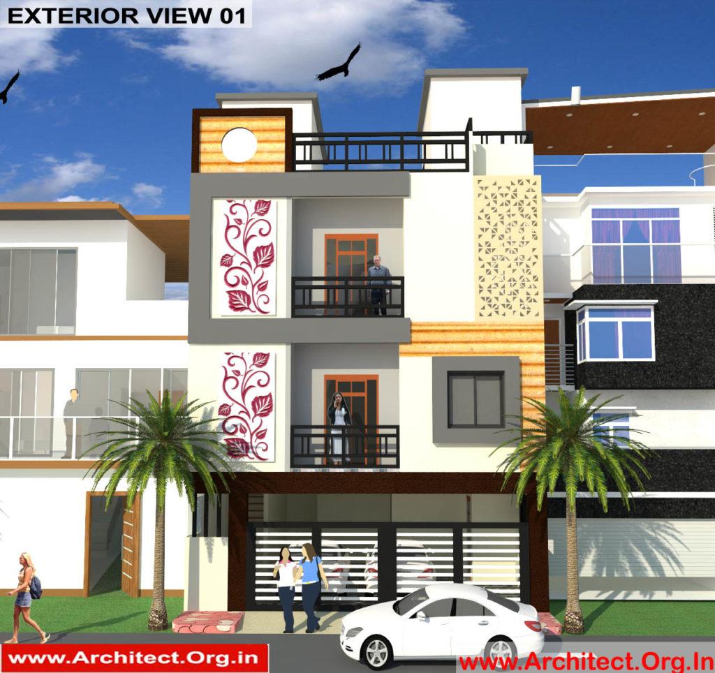 Mr.Sanjeev Kumar-Muzzafarpur Bihar-Bungalow-3d Exterior View-01