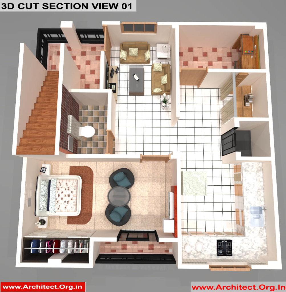 Mr.Sanjeev Kumar-Muzzafarpur Bihar-Bungalow-First floor-3d Cut Section View-01