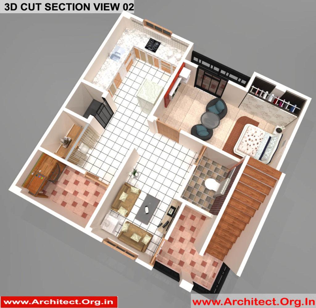 Mr.Sanjeev Kumar-Muzzafarpur Bihar-Bungalow-First floor 3d Cut Section View-02