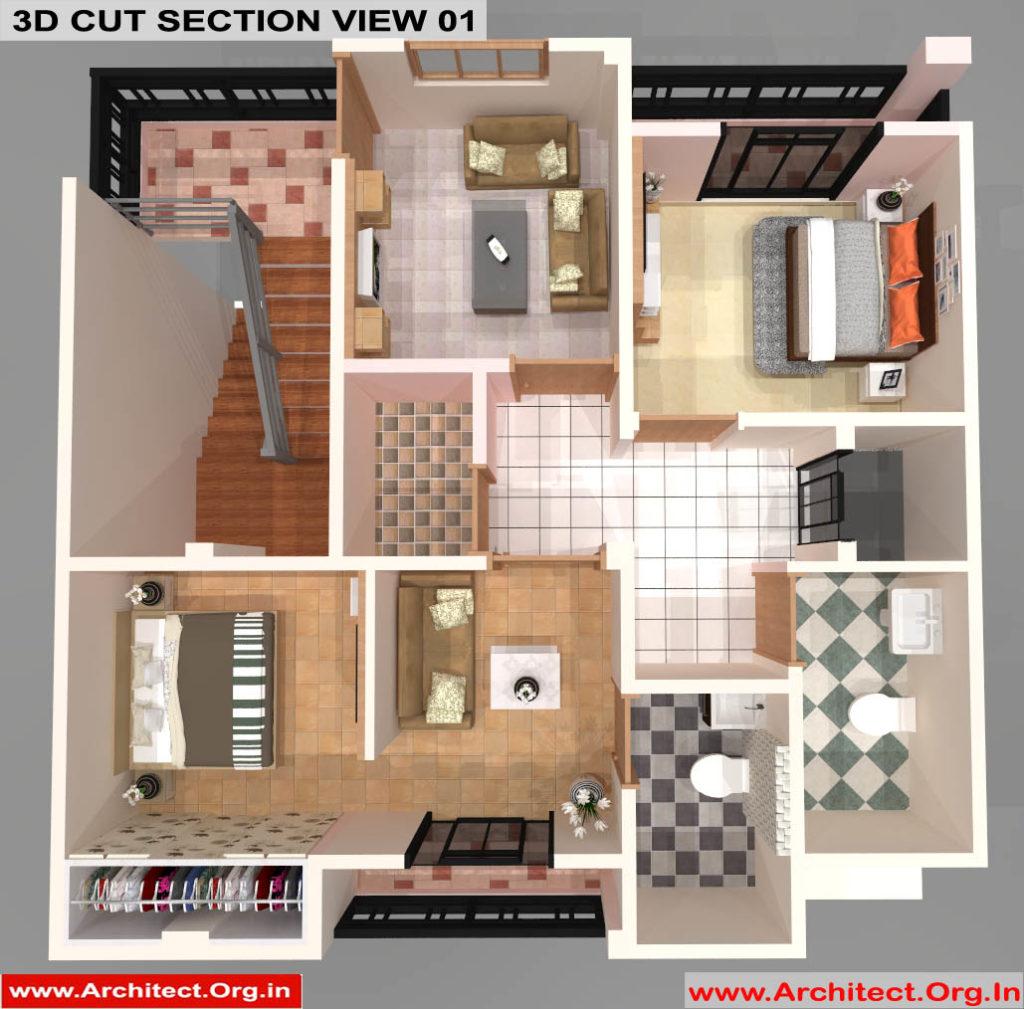Mr.Sanjeev Kumar-Muzzafarpur Bihar-Bungalow-Second floor-3d Cut Section View-01