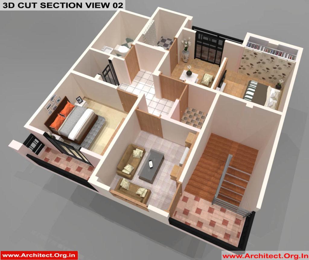 Mr.Sanjeev Kumar-Muzzafarpur Bihar-Bungalow-Second floor-3d Cut Section View-02