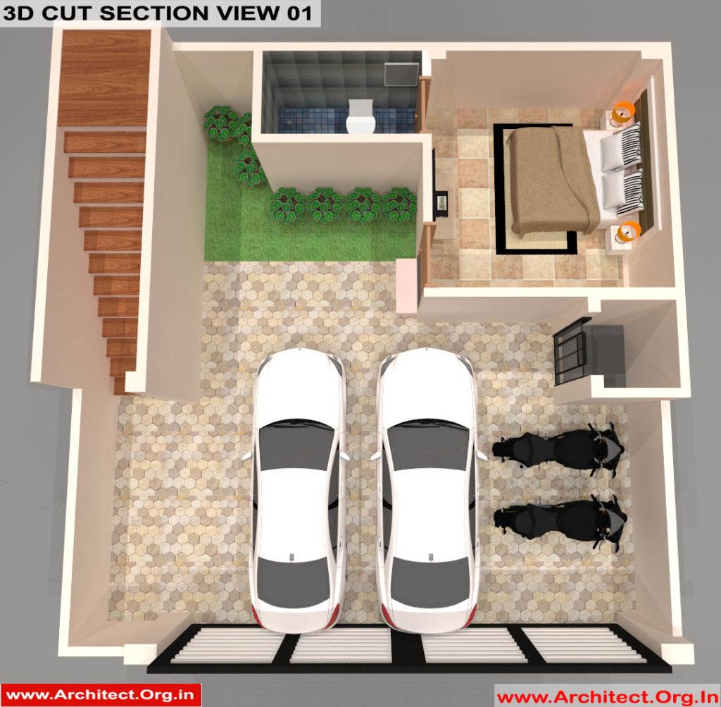 Mr.Sanjeev Kumar-Muzzafarpur Bihar-Bungalow-Stilt floor 3d Cut Section View-01