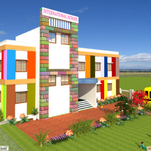 School 3D Exterior Design view 1- Udaipur Rajasthan - Mr.Shambhu Menaria