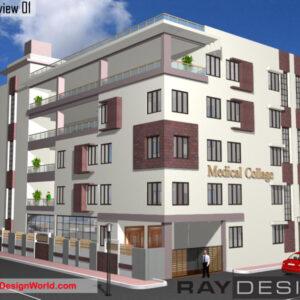 College Exterior Design view 01 - Purandar Pune - Mr.Manohar Pachange
