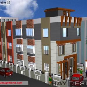 Commercial Complex Exterior Design view 01 - Vizianagaram Andhra Pradesh - Mr. P. Appala Raju
