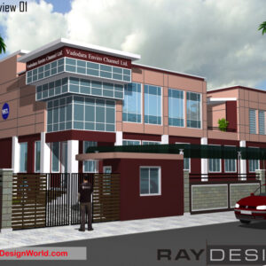 Commercial Office Building Exterior Design view 01 - Vadodara Enviro Channel Ltd. - Vadodara Gujarat - Commercial Office Building Design
